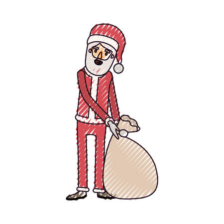 santa claus caricature full body dragging a gift bag hat and costume on color crayon silhouette on white background vector illustration