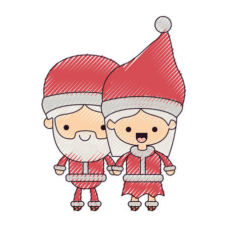 santa claus couple cartoon full body man and woman happiness on color crayon silhouette on white background vector illustration Illustration
