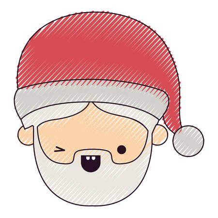 santa claus man kawaii face wink eye expression on color crayon silhouette on white background vector illustration