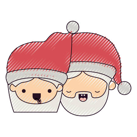 eyes are closed: santa claus couple cartoon faces woman tongue out and man with eyes closed on color crayon silhouette on white background vector illustration Illustration