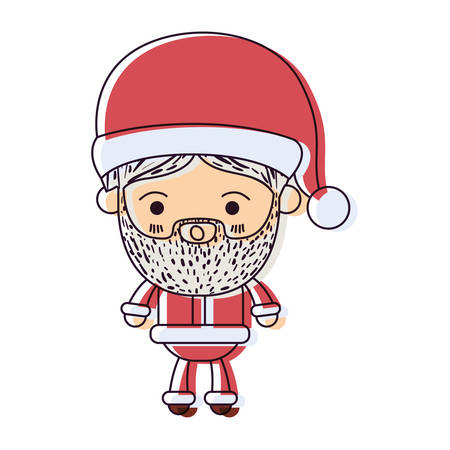 santa claus man kawaii full body cartoon surprised expression with hat watercolor silhouette on white background vector illustration Illustration