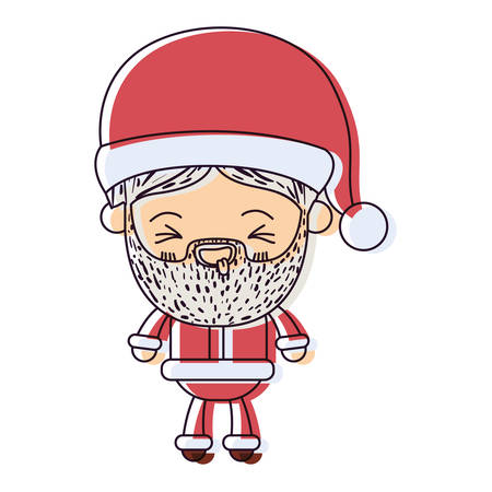 santa claus man kawaii full body cartoon smiling with tongue out expression with hat watercolor silhouette on white background vector illustration