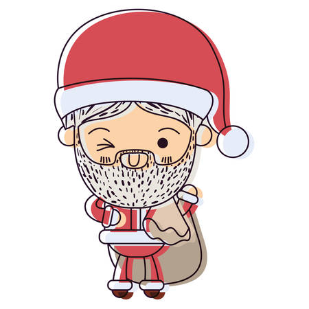 christmastime: santa claus cartoon holding gift bag face expression wink eye watercolor silhouette on white background vector illustration