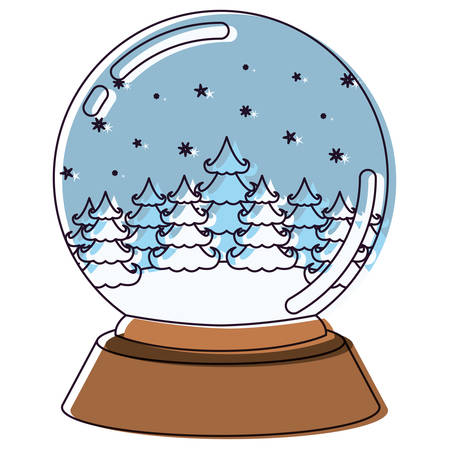christmas crystal ball with winter forest watercolor silhouette on white background vector illustration