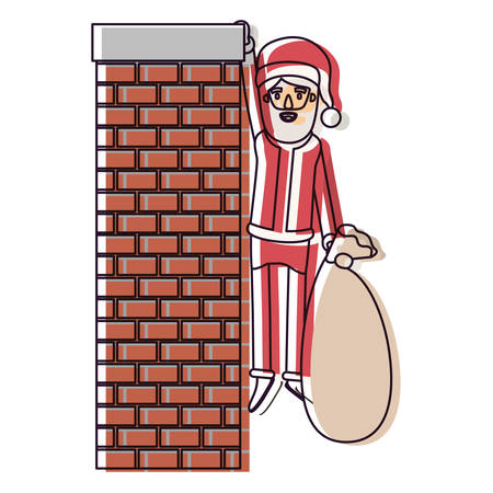 santa claus caricature full body hanging of chimney brick fireplace and holding a gift bag with hat and costume watercolor silhouette on white background vector illustration