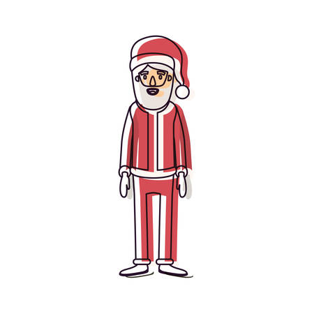 santa claus caricature full body with hat and costume watercolor silhouette on white background vector illustration Illustration
