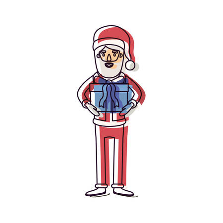 santa claus caricature full body with gift box hat and costume watercolor silhouette on white background vector illustration