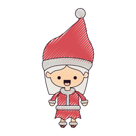 santa claus woman cartoon full body face happiness expression on color crayon silhouette on white background vector illustration