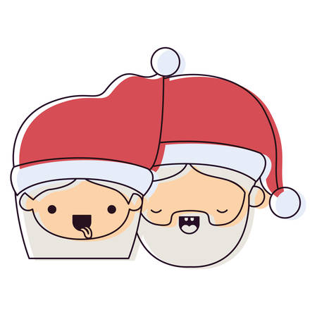 santa claus couple cartoon faces woman tongue out and man with eyes closed watercolor silhouette on white background vector illustration