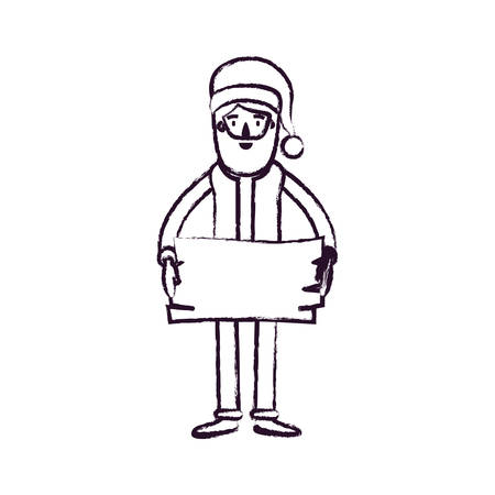 santa claus caricature full body holding a wooden piece with hat and costume blurred silhouette on white background vector illustration Illustration