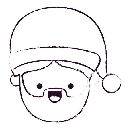santa claus man kawaii face smiling expression blurred silhouette on white background vector illustration