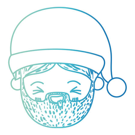 santa claus man kawaii face eyes closed and tongue out expression with hat on gradient color silhouette blue vector illustration