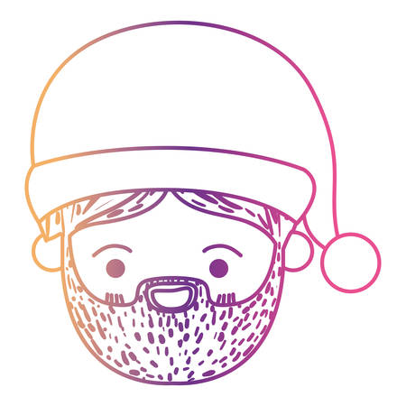 santa claus man kawaii face happiness expression with hat on gradient color silhouette from yellow to fuchsia vector illustration