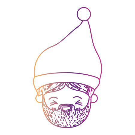 santa claus man kawaii face eyes closed and tongue out expression with christmas hat on gradient color silhouette from yellow to fuchsia vector illustration