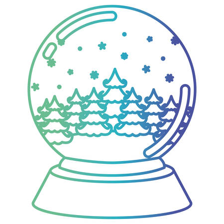 brigth: christmas crystal ball with winter forest on gradient color silhouette from blue to purple vector illustration Illustration