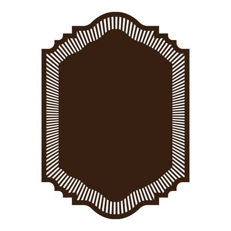 victorian wallpaper: heraldic silhouette decorative frame in brown color with striped edge vector illustration