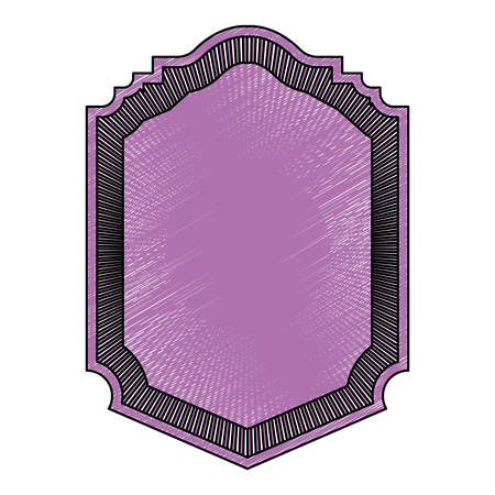 victorian wallpaper: heraldic silhouette decorative frame in colored crayon purple and striped edge vector illustration