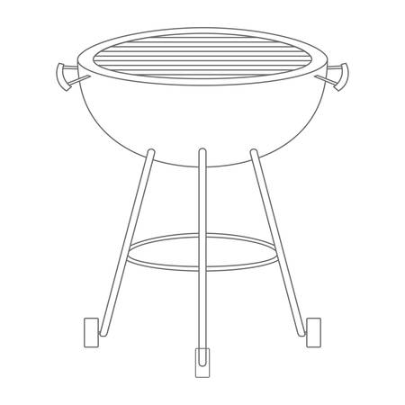 bbq grill front view monochrome silhouette vector illustration Illustration