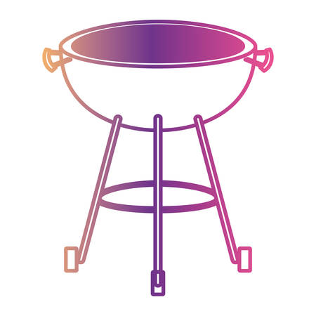 bbq grill front view gradient color silhouette from purple to red vector illustration
