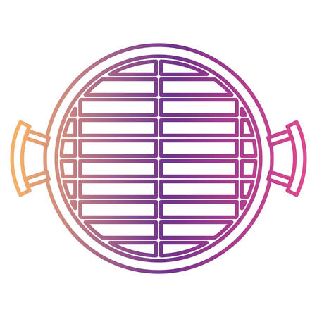 bbq grill top view gradient color silhouette from purple to red vector illustration