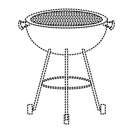 bbq grill front view monochrome dotted silhouette vector illustration