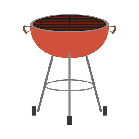bbq grill front view colorful silhouette vector illustration