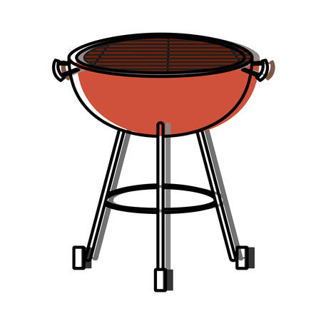 bbq grill front view watercolor silhouette vector illustration Illustration