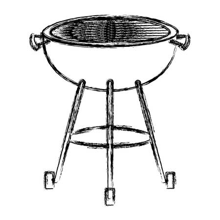 bbq grill front view monochrome blurred silhouette vector illustration