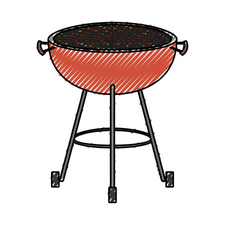 bbq grill front view colored crayon silhouette vector illustration