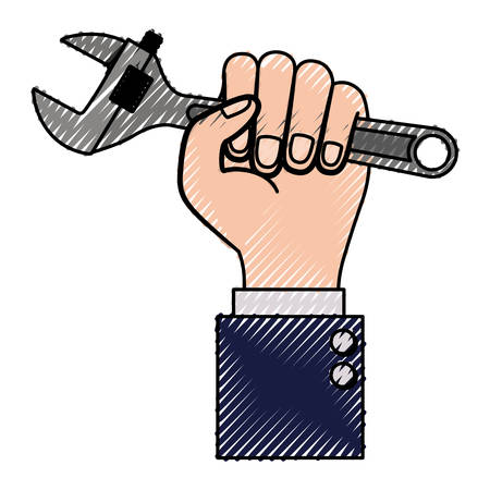 hand holding adjustable wrench flat icon colored crayon silhouette vector illustration