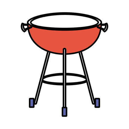steel: bbq grill front view color sections silhouette vector illustration Illustration