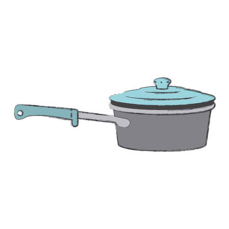 pan with handle and lid colorful silhouette with blurred contour vector illustration