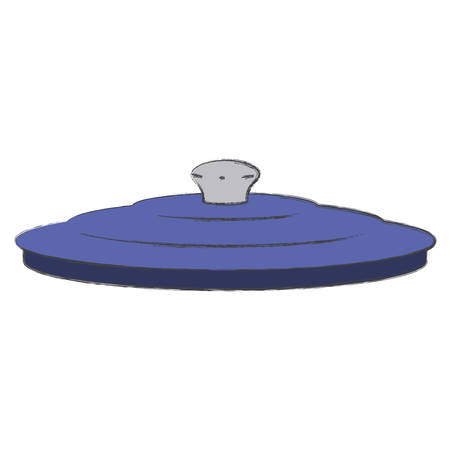 pan lid colorful silhouette with blurred contour vector illustration