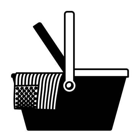celebrate labor day with american flag in basket food in black silhouette vector illustration Illustration