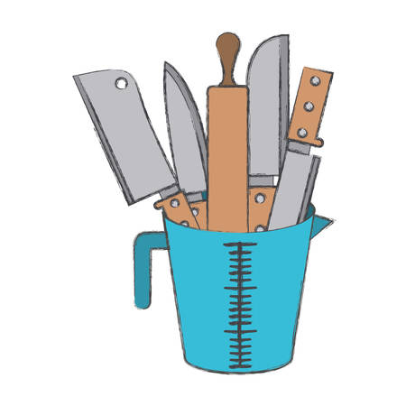 container with knifes and rolling pin colorful blurred contour vector illustration