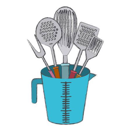 jar with kitchen utensils colorful blurred contour vector illustration