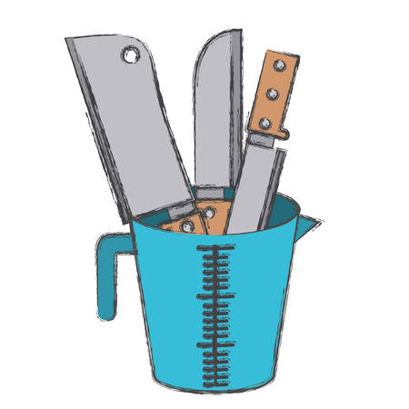container with knifes colorful blurred contour vector illustration Illustration