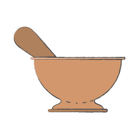 chinese food container: kitchen bowl colorful blurred contour vector illustration Illustration