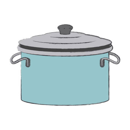 cooking pot with lid colorful blurred contour vector illustration