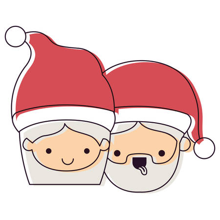 Santa Claus couple cartoon faces Illustration
