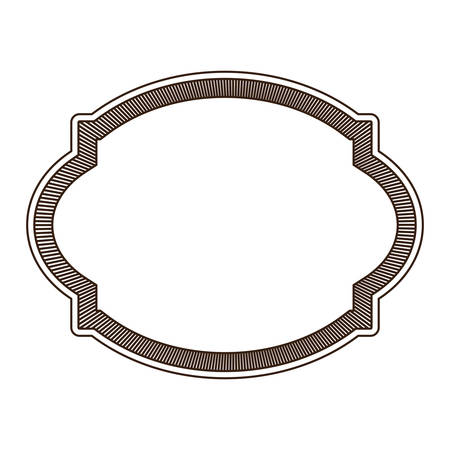 heraldic silhouette decorative rounded frame in brown color with striped edge vector illustration