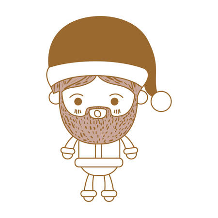 santa claus man kawaii full body cartoon surprised expression with hat and costume on color section silhouette vector illustration