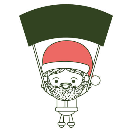 santa claus cartoon holding up a wooden poster with face expression smiling on color section silhouette vector illustration