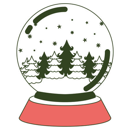 brigth: christmas crystal ball with winter forest on color section silhouette vector illustration