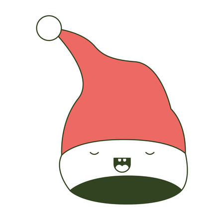 Cute Christmas hat, Santa Claus with eyes closed happiness gesture