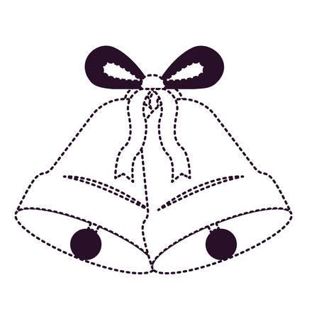 Double bell with ribbon on dotted lines, black and white illustration
