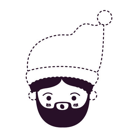 A cute Santa Claus face surprised with Christmas hat on dotted monochrome vector illustration.