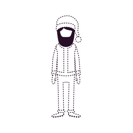 A Santa Claus faceless caricature with hat and costume on dotted monochrome vector illustration. Illustration