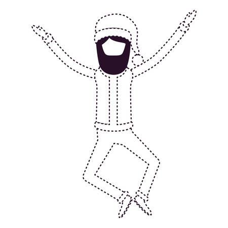 Une caricature sans visage de Santa Claus sautant avec chapeau et costume sur l'illustration de vecteur monochrome en pointillé.