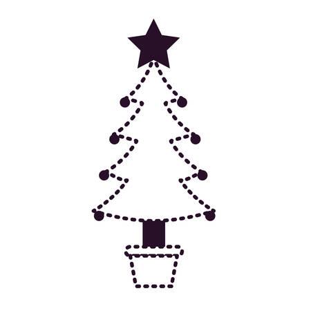 un arbre de noël avec des guirlandes décoratives avec étoile dans le sommet sur la tuile monochrome sur le vecteur monochrome background.vector illustration